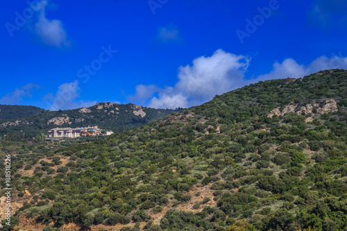 Foto op Plexiglas Donkerblauw Mount Athos in Greece