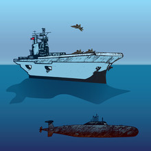Aircraft Carrier Typical With Military Airplane Raptor On Board And Submarine Under, Hand Drawn Doodle Sketch, Isolated Vector Outline Army Collection Illustration On Blue Ocean And Sky Background