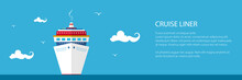 Banner With Cruise Ship , Fron...