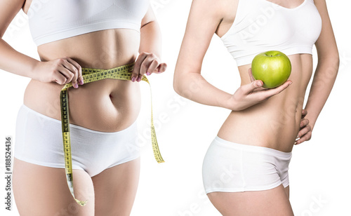 Fotografía Woman's body before and after weight loss.