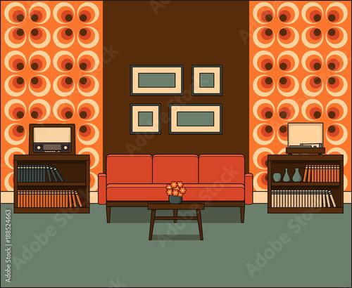 Retro Living Room In Line Art Room Interior 1960s Linear