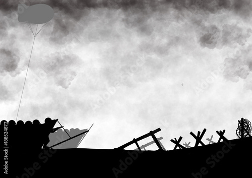 Fotografia  Original illustration of the allied D-Day invasion of Europe in 1944