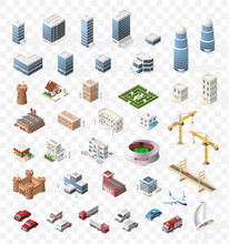 Set Of Realistic Isometric High Quality City Element For Map On Transparent Background . Buildings