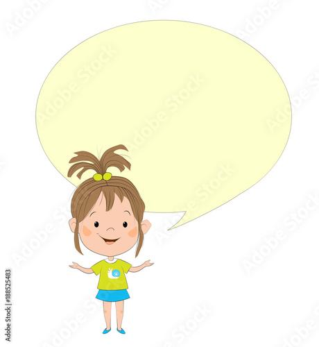 Foto op Canvas Schepselen Цветная изолированная иллюстрация с изображением маленькой белой девочки в зелёной футболке и синей юбке и жёлтого пузыря для текста.