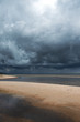 Dark clouds above gulf of Riga, Baltic sea.