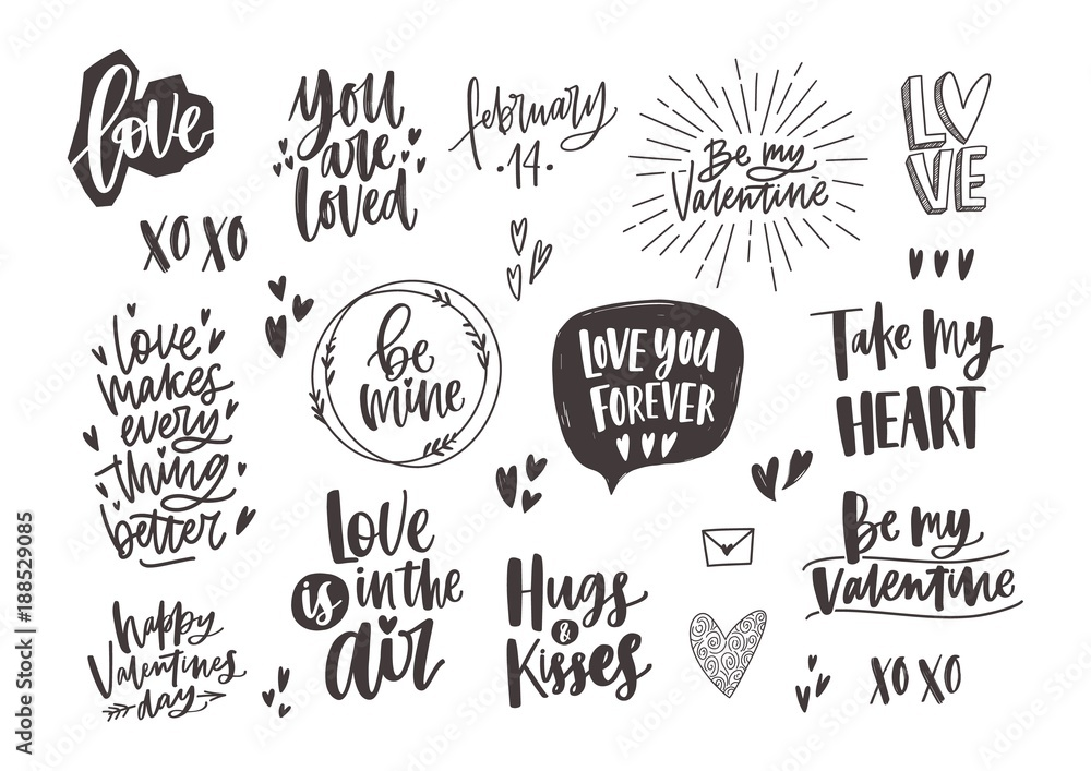 Fototapeta Bundle of trendy monochrome Valentine s day letterings with various phrases, quotes and wishes decorated by hearts hand drawn in black and white colors, design elements. Holiday vector illustration.