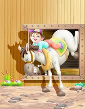 Boy Riding On Donkeys