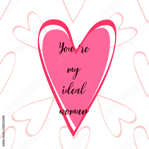 """Fotografie, Obraz  Valentine's day card with hearts and quote """"Yo're incredible"""""""