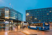 Helsinki, Finland. Bus Is At Stop On Helsinki Railway Square.