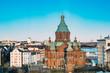 Helsinki, Finland. Uspenski Cathedral On Hill At Winter Sunny Day