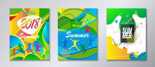 Hello Summer Abstract Composition Geometric Dynamic Colorful Shapes Modern Bright Color Design Template Set. Festival, Carnival, Attraction, Kids, Sport, Camp Flyers Travel Around World Concept.