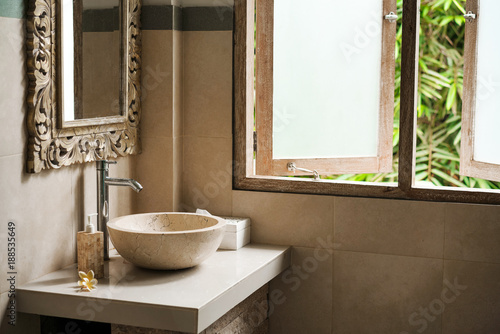 Fotografie, Obraz  toilet is a bathroom from the Stone in the Loft style of the tropical islands