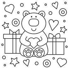 Teddy Bear And Gifts. Coloring...