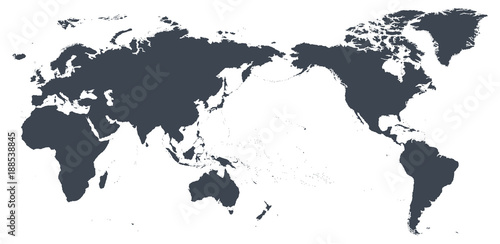 World Map Outline Contour Silhouette - Asia in Center ...