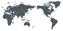 World Map Outline Contour Silhouette Borders - Asia In Center
