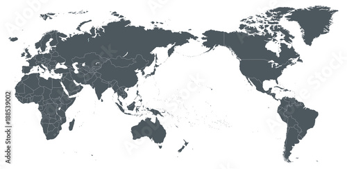 World Map Outline Contour Silhouette Borders - Asia in Center Wallpaper Mural
