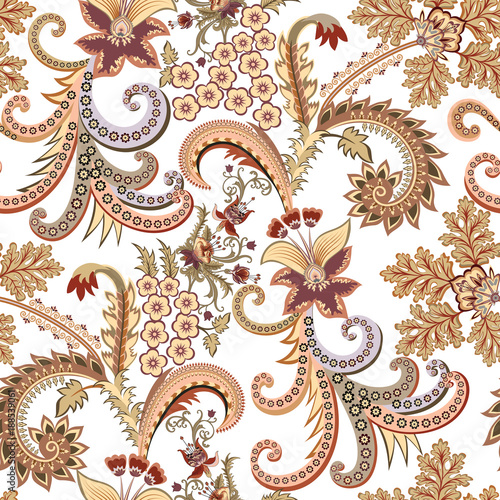 Cotton fabric seamless ornate pattern with  small flowers, decorative curls in yellow brown tint