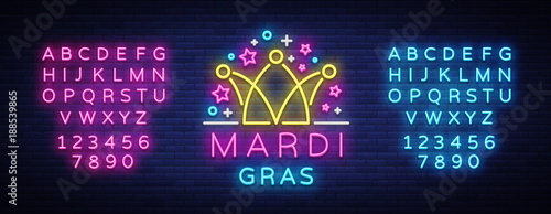 Fotografie, Obraz Mardi Gras design template for greeting cards, flyers, greeting