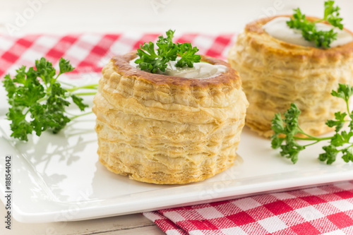 Puff pastry vol-au-vents filled with mushroom ragout Canvas Print