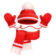 Hat And Scarf With Mittens Vec...