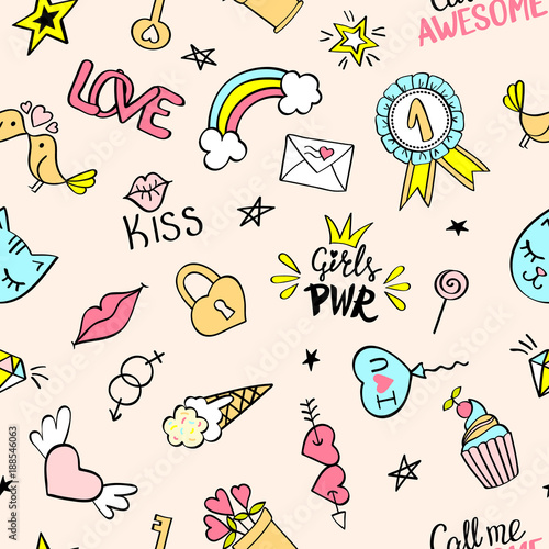 Seamless pattern with hand drawn girly doodles Canvas Print