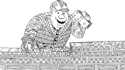 A man lays bricks. The bricks in the form of a domino. Freehand sketch drawing for adult antistress coloring book