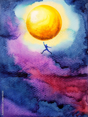 human jump high up to catch bright yellow ful moon in dark sky night, dream illu Lerretsbilde