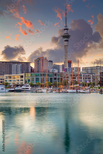 Canvas Prints New Zealand Auckland. Cityscape image of Auckland skyline, New Zealand during sunrise.