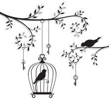 The Bird In The Cage Hanging O...