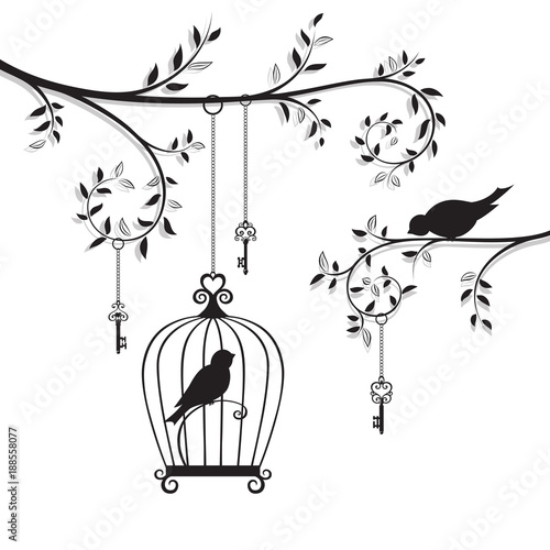 Fotografia The bird in the cage hanging on the branch. Line-art silhouette.