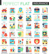 Health, car, house Insurance vector complex flat icon concept symbols for web infographic design.