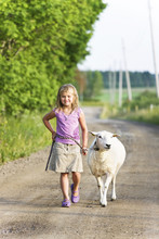 Little Girl Walking On Country...