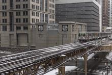 Subway Train Moving Down Track
