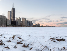 Chicago Skyline With Frozen Lake And Orange Sky