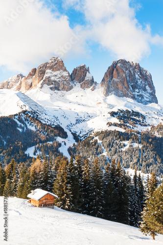 Tuinposter Alpen Val di Fassa ski resort in Dolomites, Italy