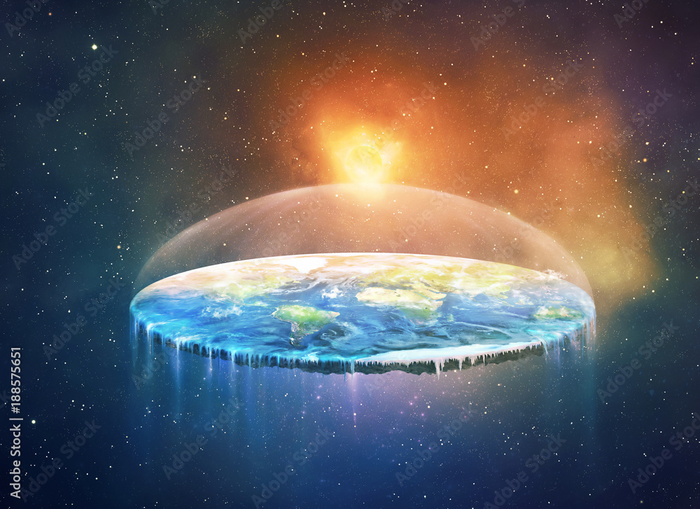 Fototapety, obrazy: Flat earth in space