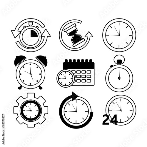 collection time clock hour plan service work vector illustration