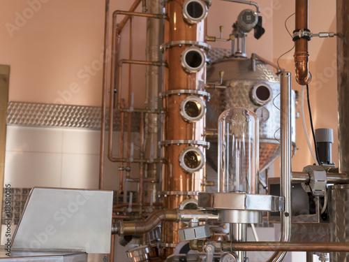 alembic still for making alcohol inside distillery, destilling spirits Canvas Print