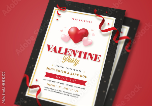 Valentine S Day Party Flyer With Confetti And Heart Elements Buy