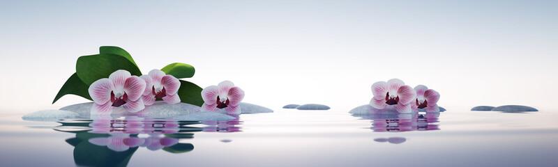 Obraz na SzkleOrchideen mit Steinen im See