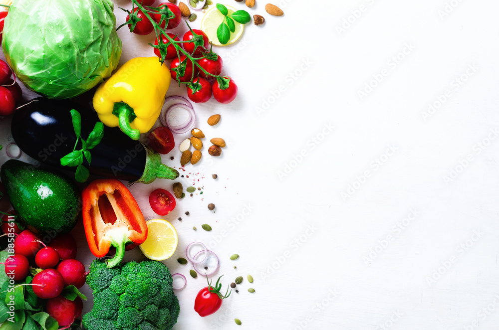 Set of fresh vegetables on a white background. Aromatic herbs, onion, avocado, broccoli, pepper bell, eggplant, cabbage, radish, cucumber, almonds, rucola, baby corn. Banner