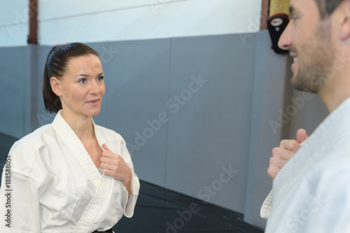 Martial arts competitors greeting each other buy this stock photo martial arts competitors greeting each other m4hsunfo