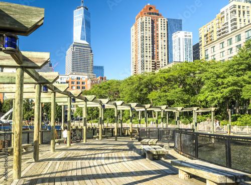 Photo  Battery Park Wooden Architecture, Manhattan, New York, NY, USA