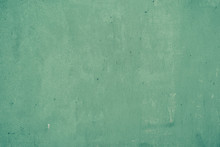 Old Shabby Painted In Turquoise, Green Color Wall, Grunge Background, Texture