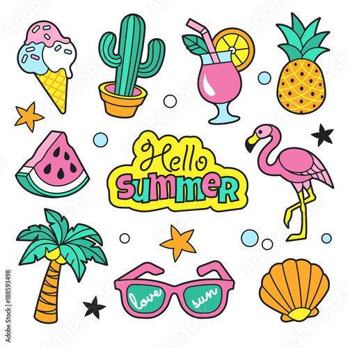 Summer patches collection. Vector illustration of funny summer symbols and icons, such as cactus, flamingo, ice cream, palm, pineapple and sunglasses. Isolated on white.
