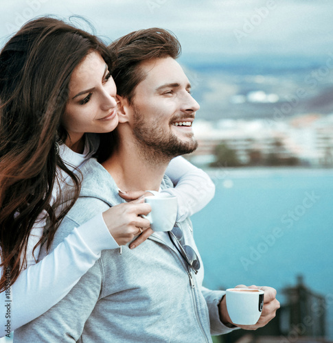 Printed kitchen splashbacks Artist KB Portrait of a relaxed couple drinking hot coffee