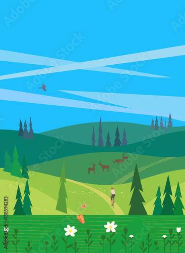 Foto op Canvas Blauw Green summer landscape