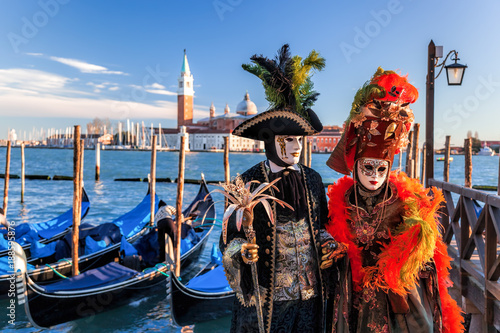 Colorful carnival masks at a traditional festival in Venice, Italy Canvas Print