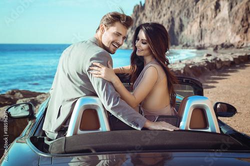 Printed kitchen splashbacks Artist KB Smart couple riding a luxurious convertible