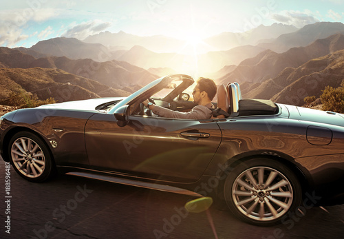 Printed kitchen splashbacks Artist KB Elegant man driving a convertible